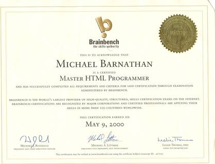 Brainbench Certificates